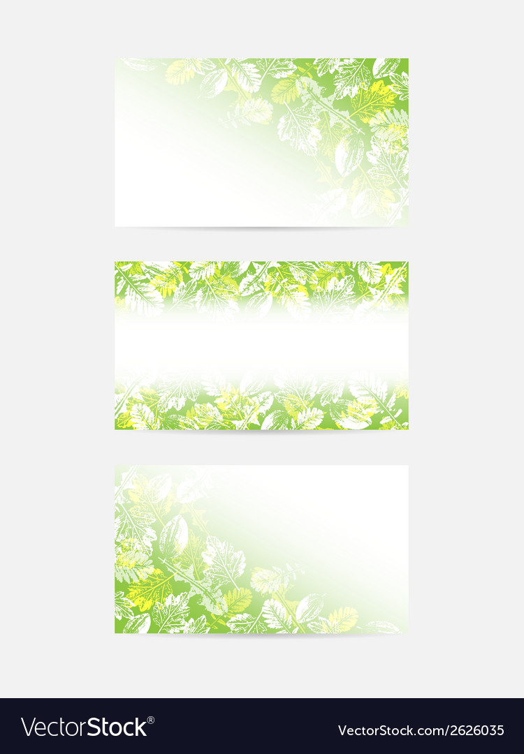 Green leaves greeting cards vector | Price: 1 Credit (USD $1)