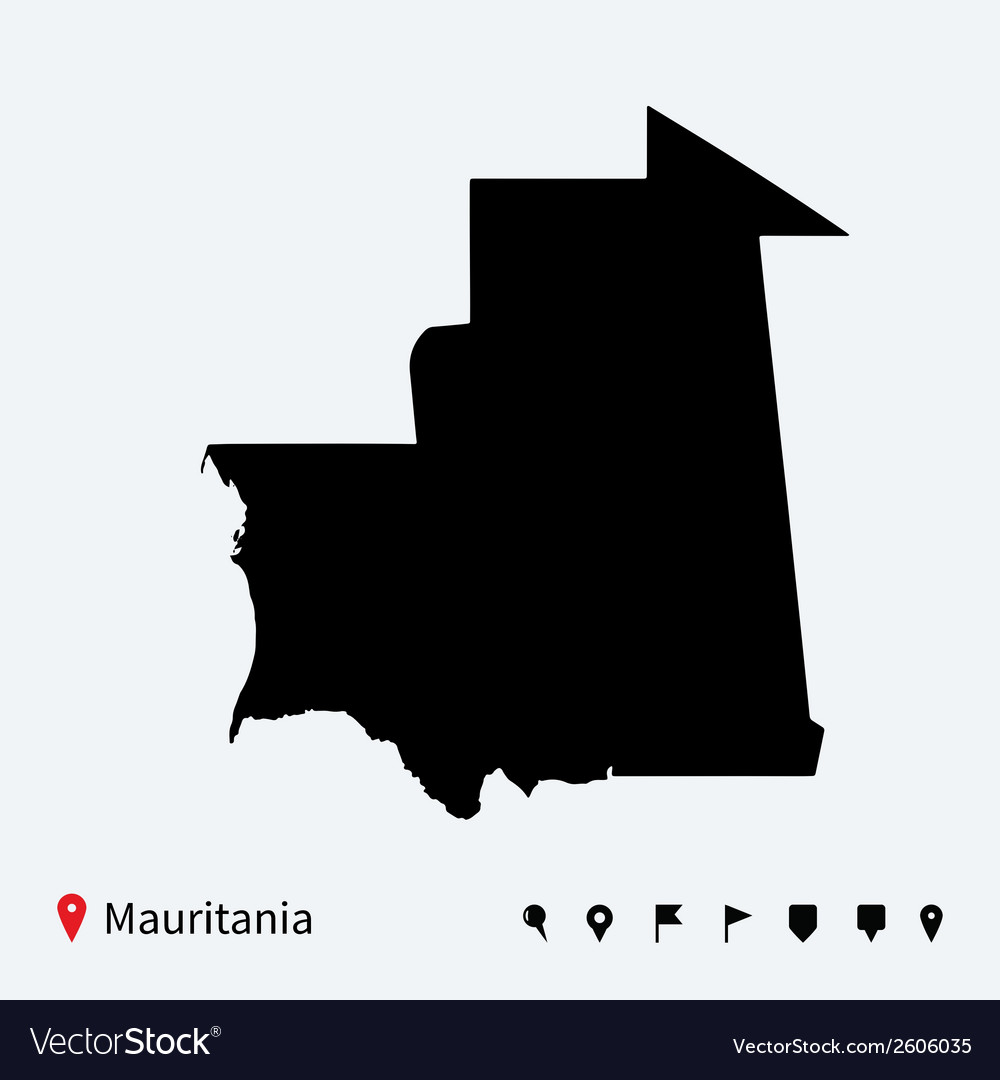 High detailed map of mauritania with navigation vector | Price: 1 Credit (USD $1)