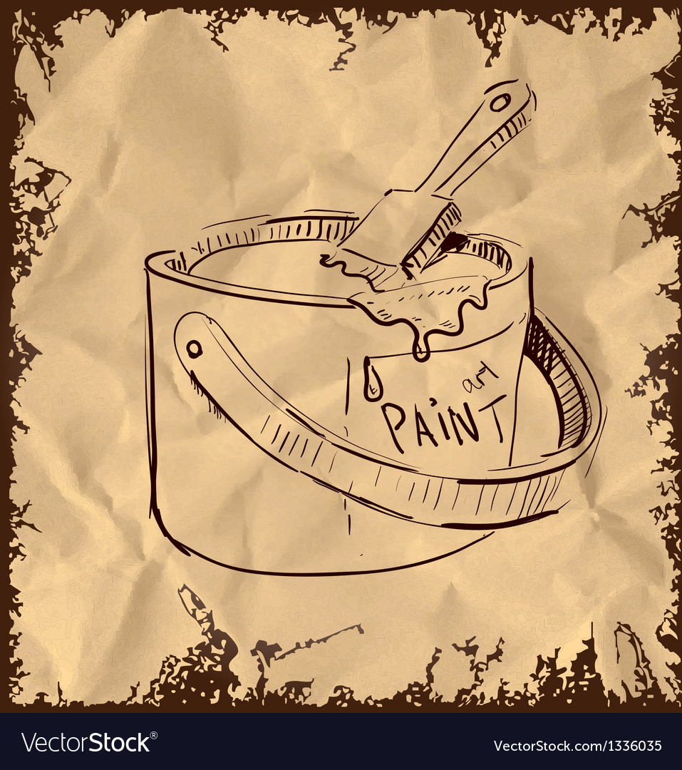 Paint bucket and brush on vintage background vector | Price: 1 Credit (USD $1)