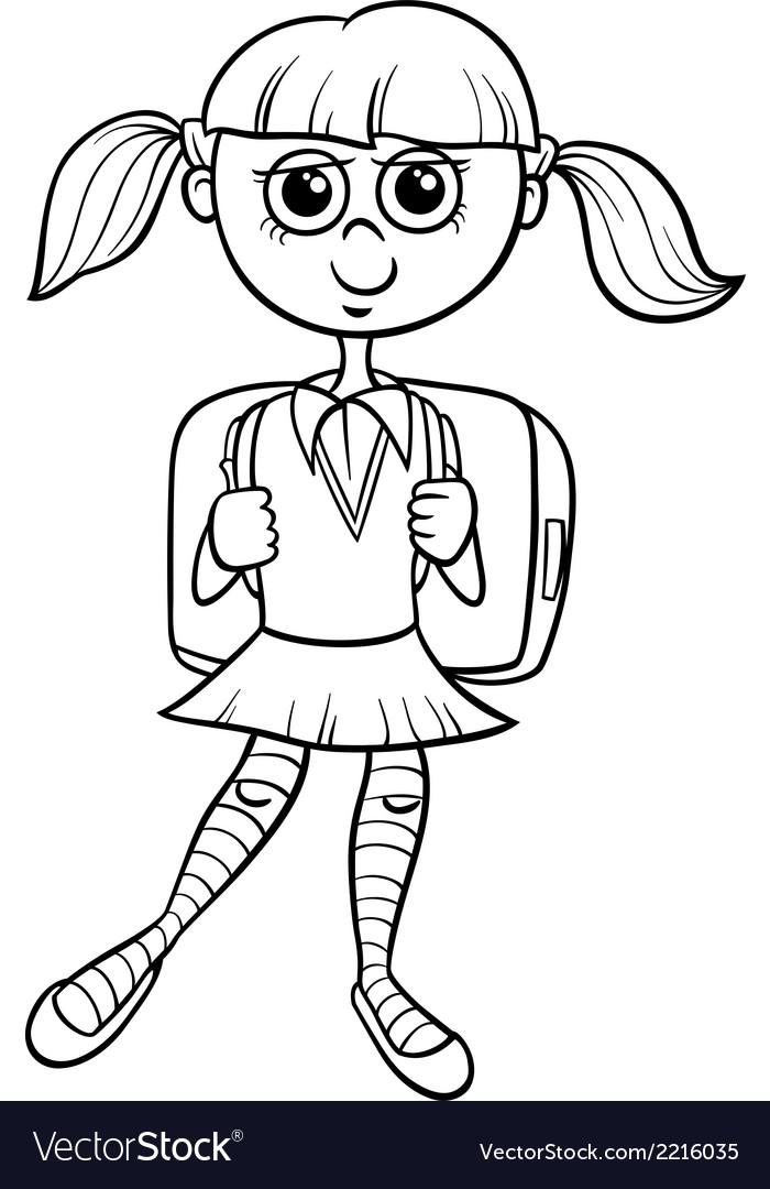 Primary school girl coloring book vector | Price: 1 Credit (USD $1)