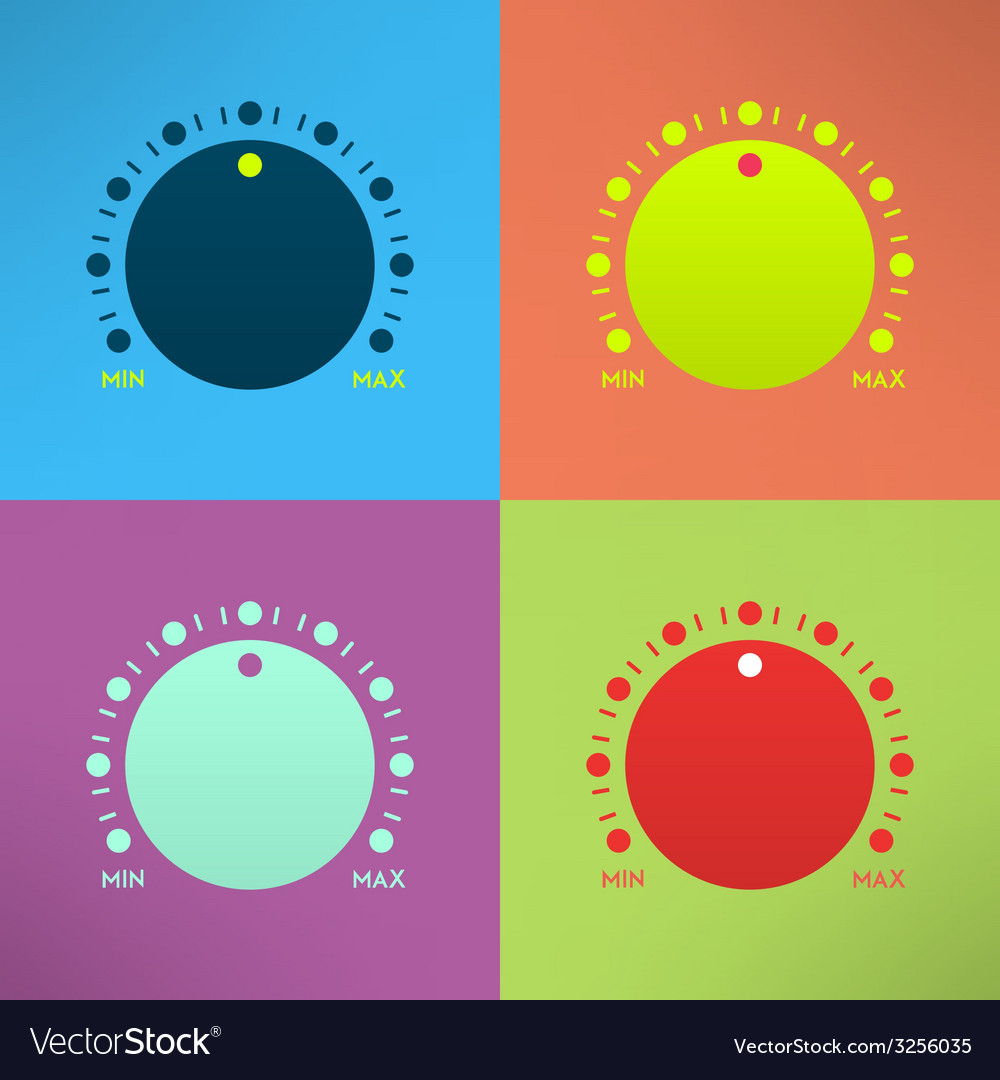 Set of bright volume knobs for player in modern vector | Price: 1 Credit (USD $1)