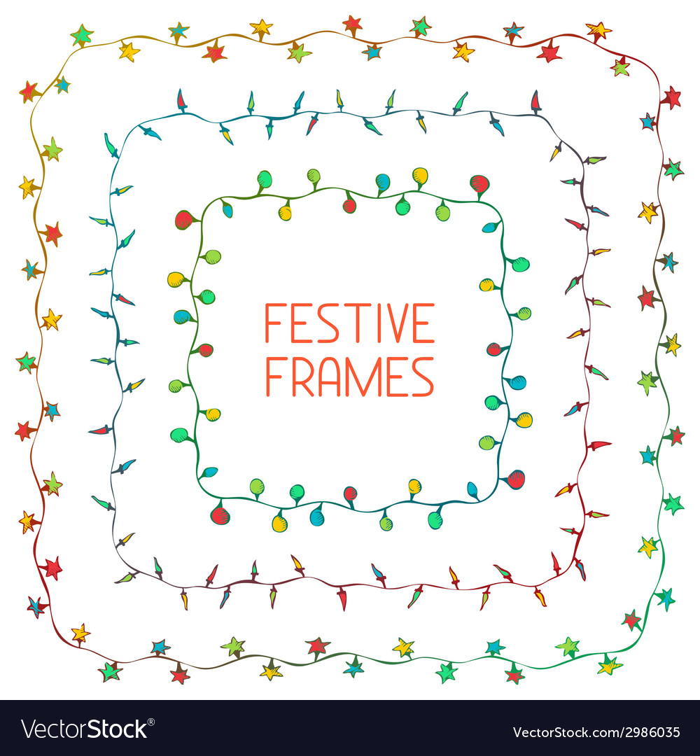 Set of hand drawn square frames vector | Price: 1 Credit (USD $1)