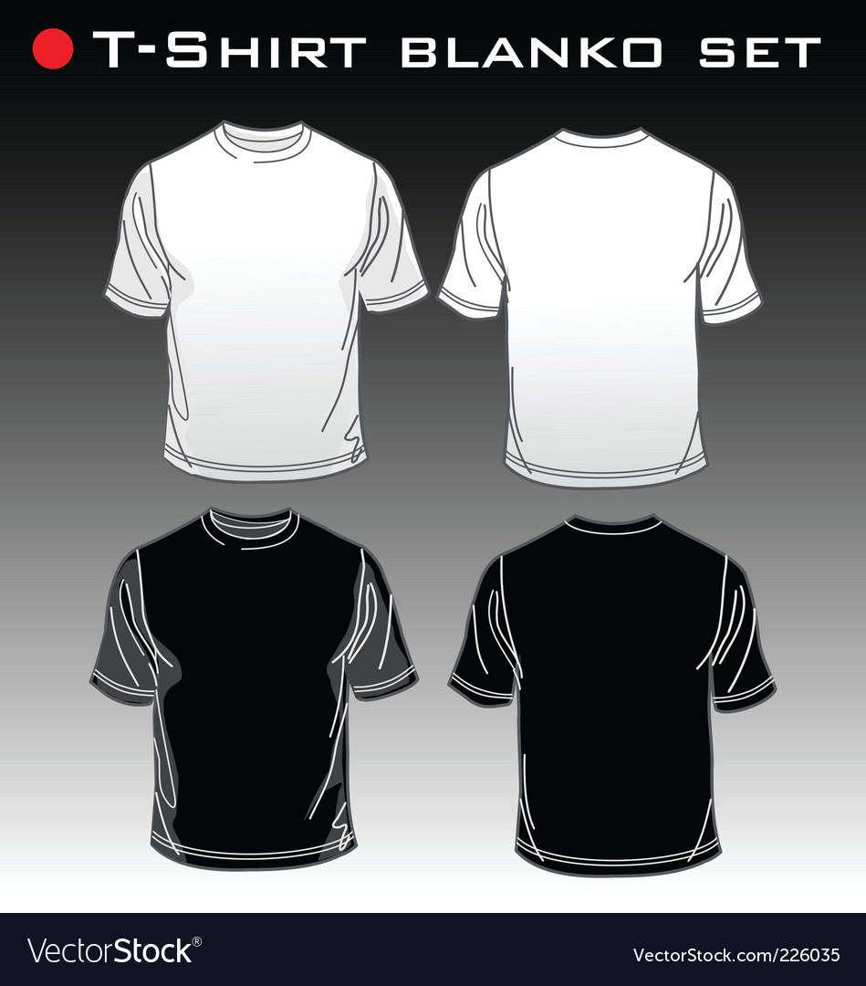 Set tshirt blank vector