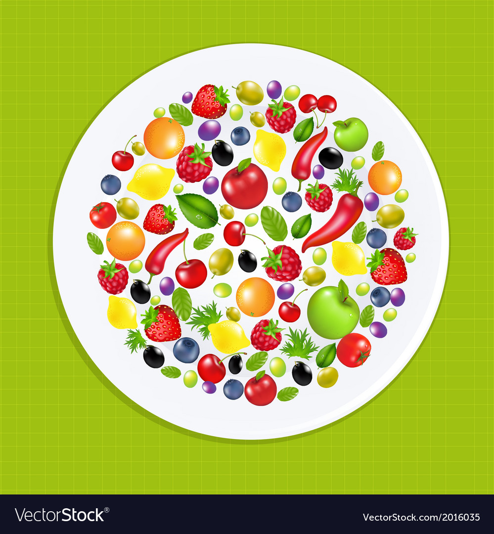 White plate with fruit and vegetables vector | Price: 1 Credit (USD $1)