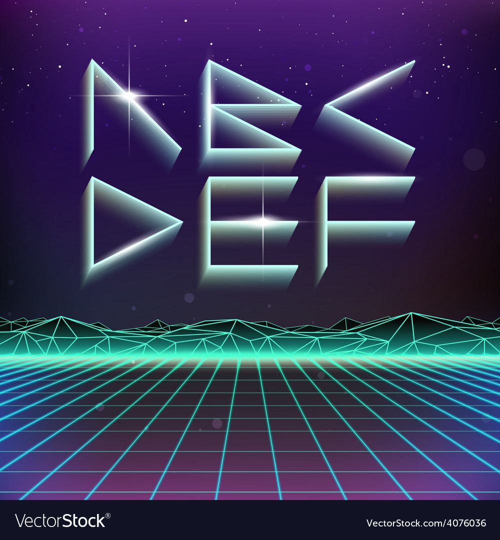 80s retro futurism geometric font from a to f vector | Price: 1 Credit (USD $1)