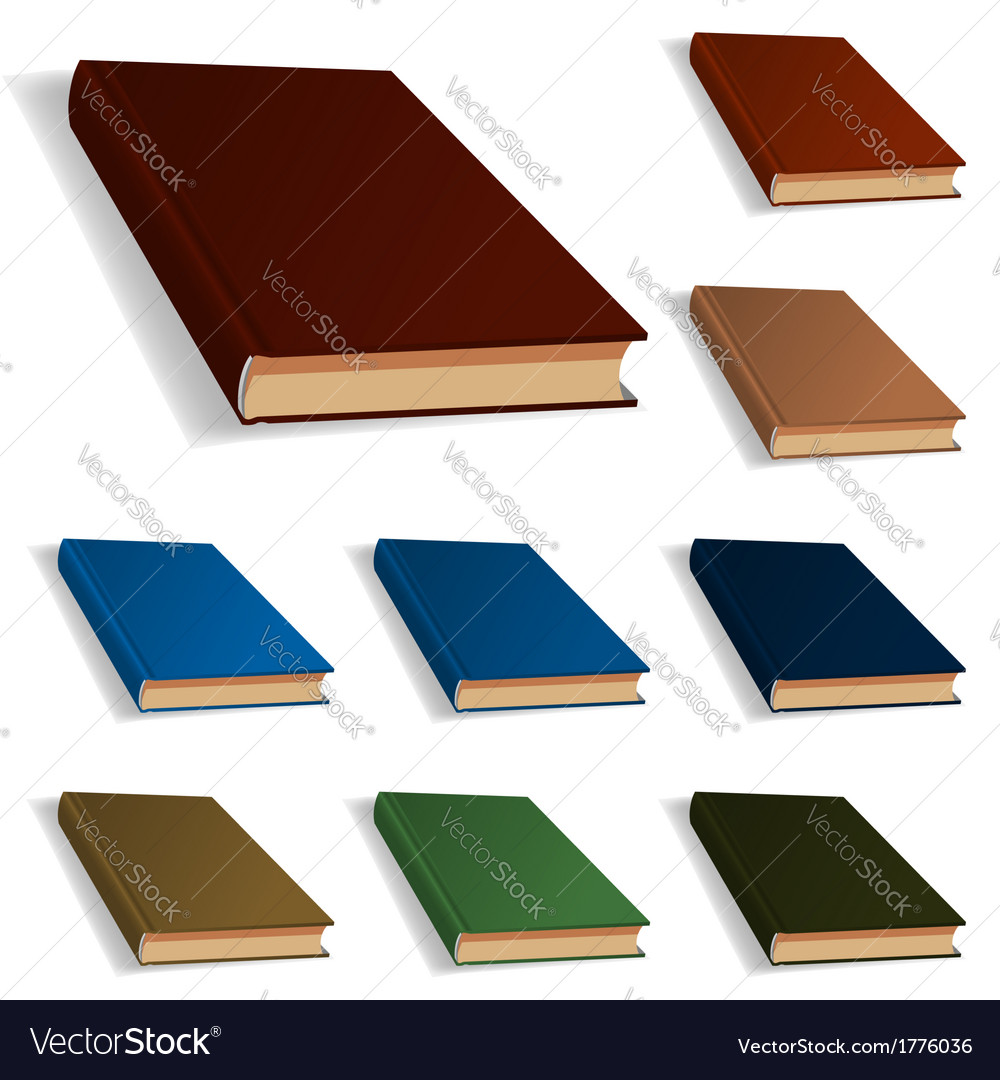 Blank books set nine different colors vector | Price: 1 Credit (USD $1)