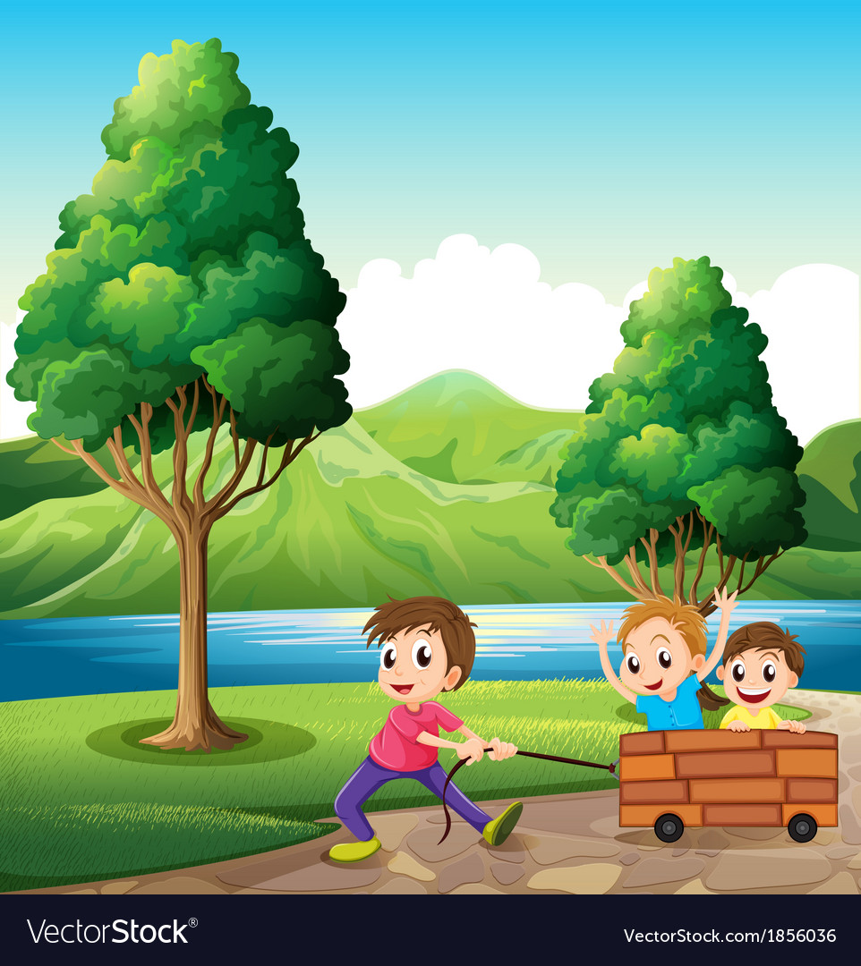 Boys playing at the riverbank vector | Price: 3 Credit (USD $3)