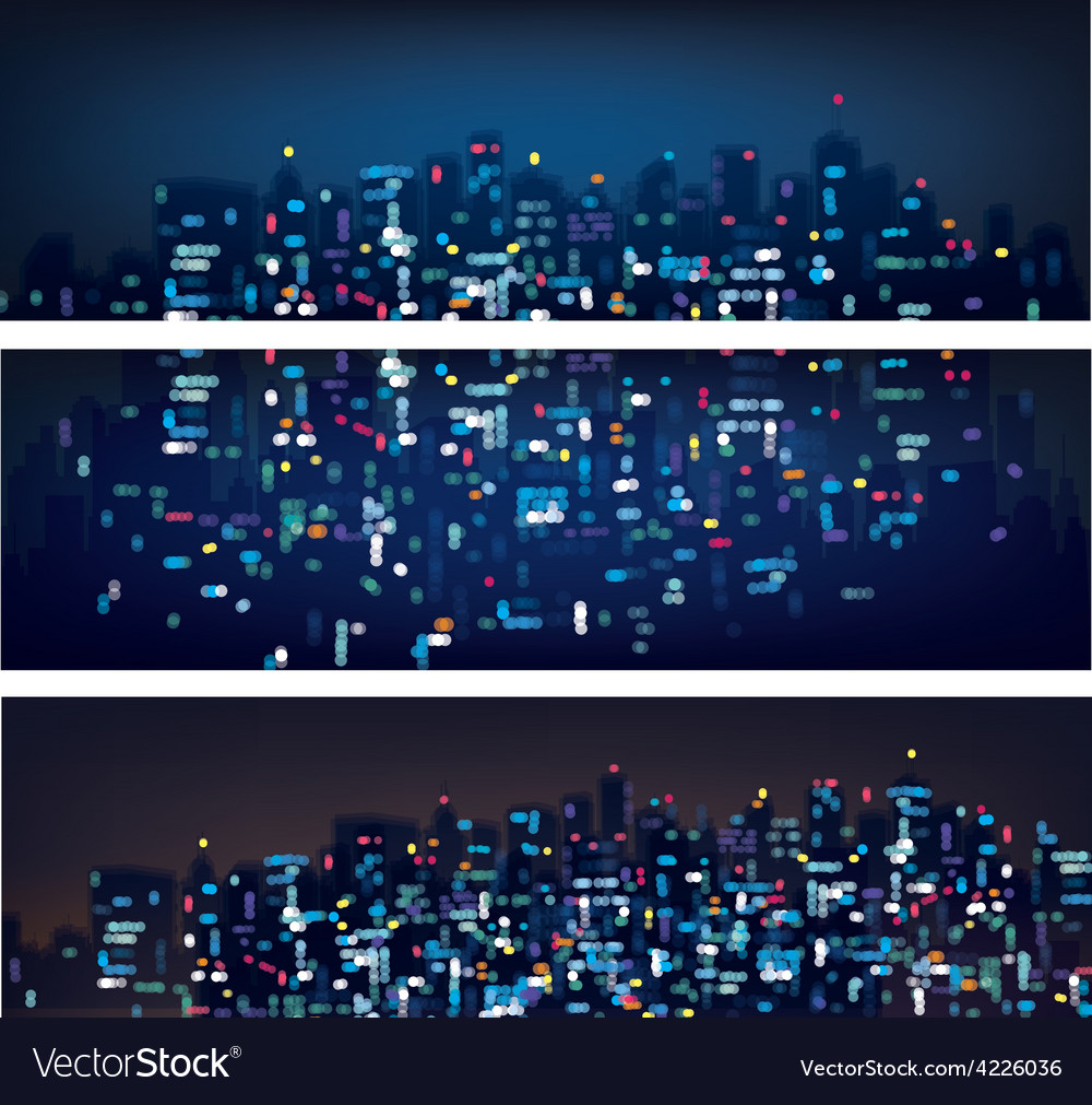 City banners night vector | Price: 1 Credit (USD $1)