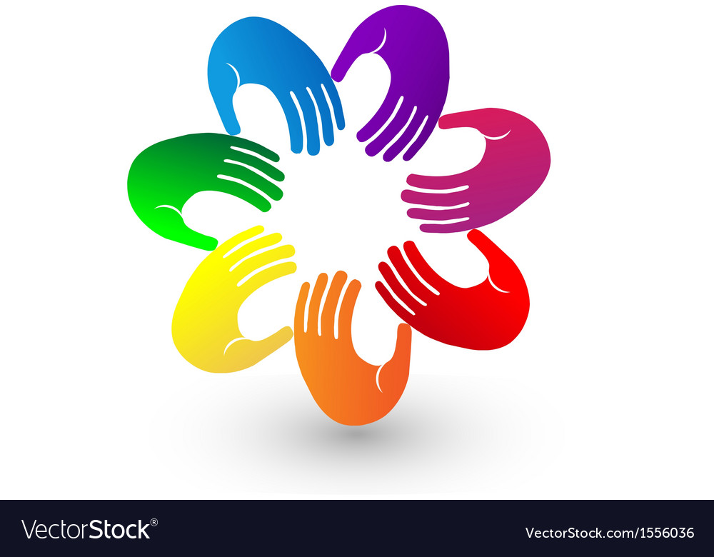 Colorful hands team logo vector | Price: 1 Credit (USD $1)