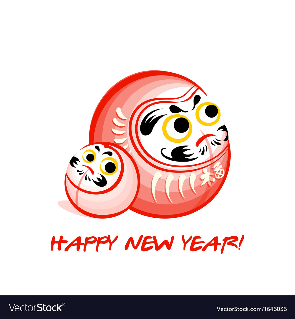 Daruma new year card vector | Price: 1 Credit (USD $1)