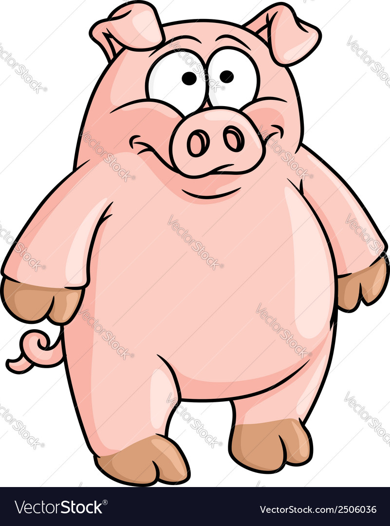 Fat happy pink cartoon pig vector | Price: 1 Credit (USD $1)