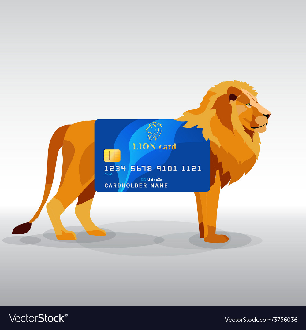 Gredit card hung on king lion vector | Price: 1 Credit (USD $1)