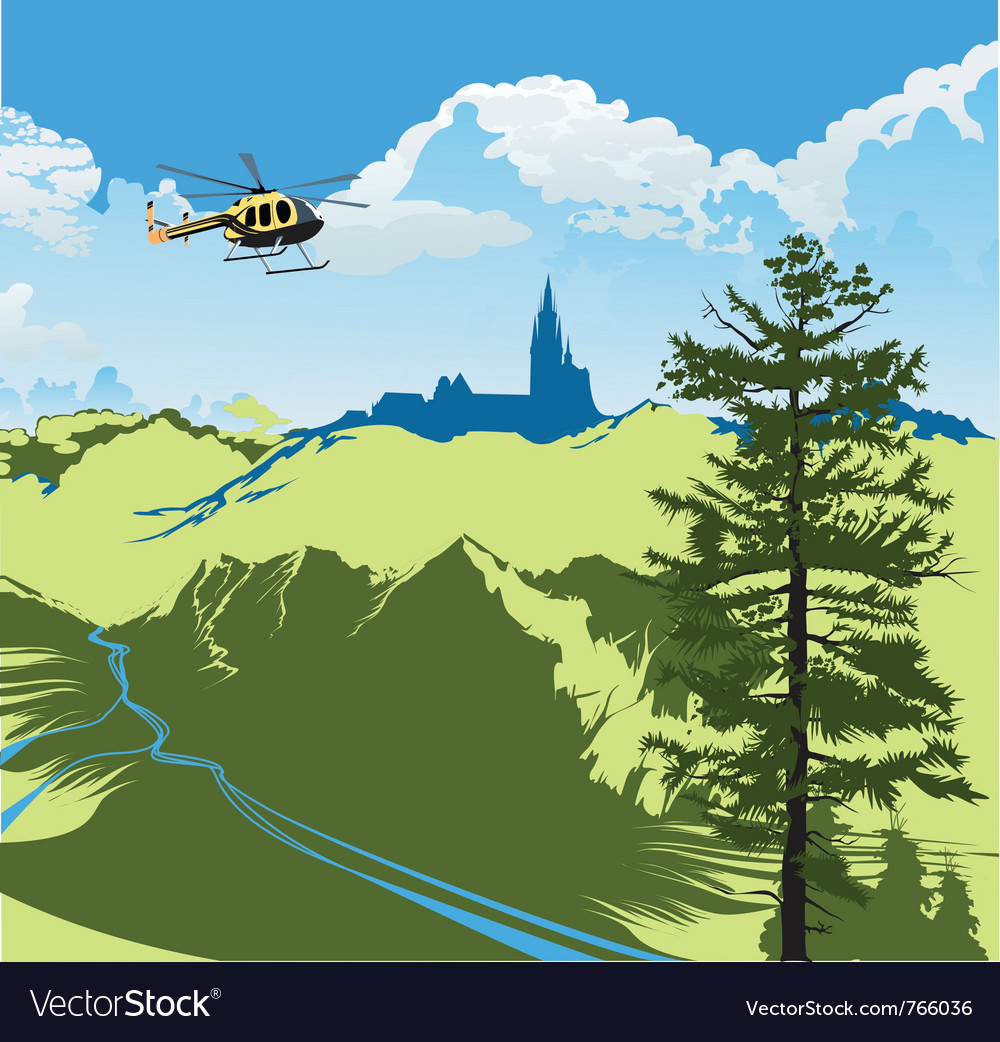 Helicopter flying over the green valley vector | Price: 3 Credit (USD $3)