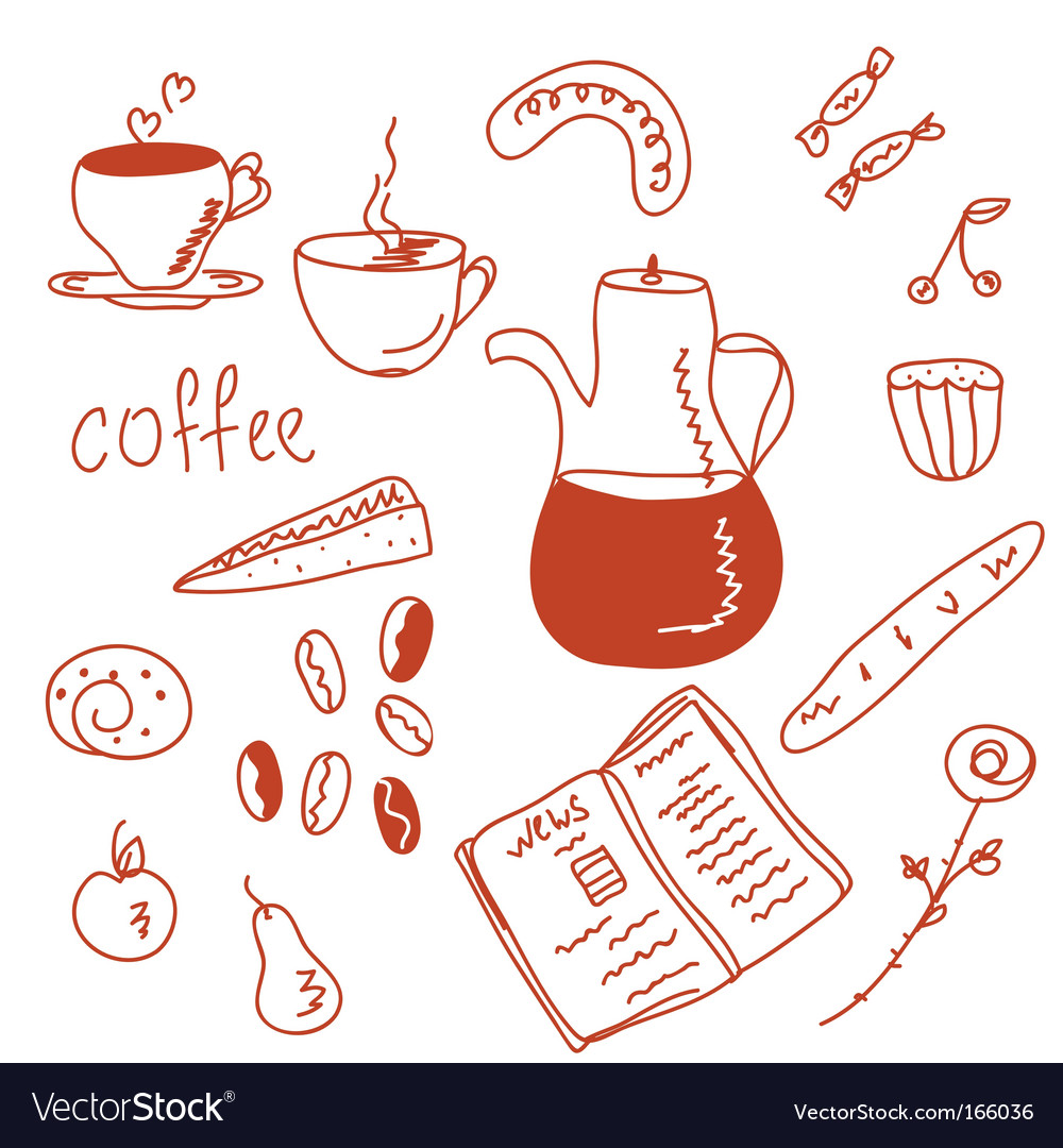 Morning coffee funny doodles set vector | Price: 1 Credit (USD $1)