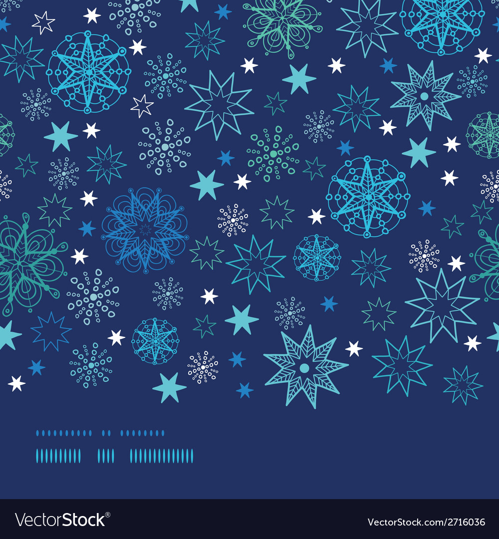 Night snowflakes horizontal border frame seamless vector | Price: 1 Credit (USD $1)