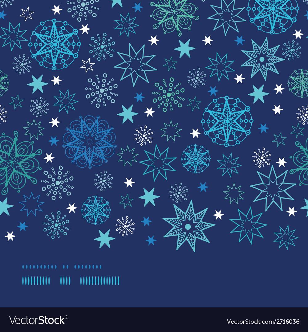 Night snowflakes horizontal border frame seamless vector | Price: 1 Credit (USD $1)