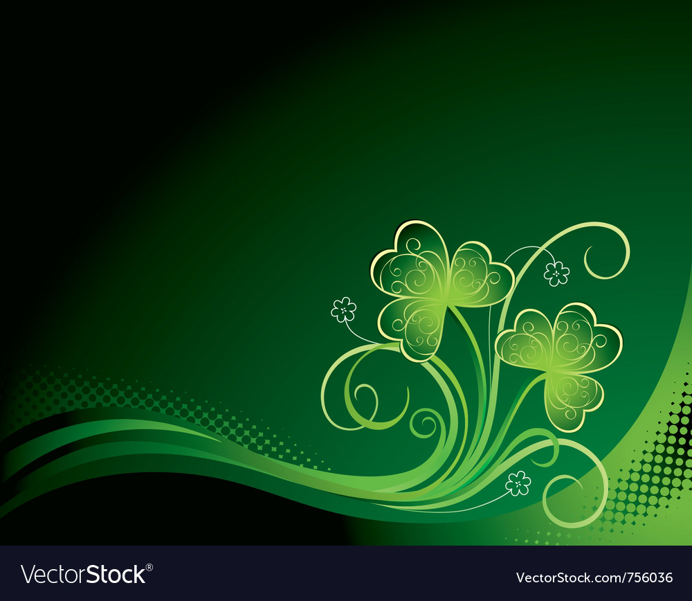 Patrick floral background with shamrock vector | Price: 1 Credit (USD $1)