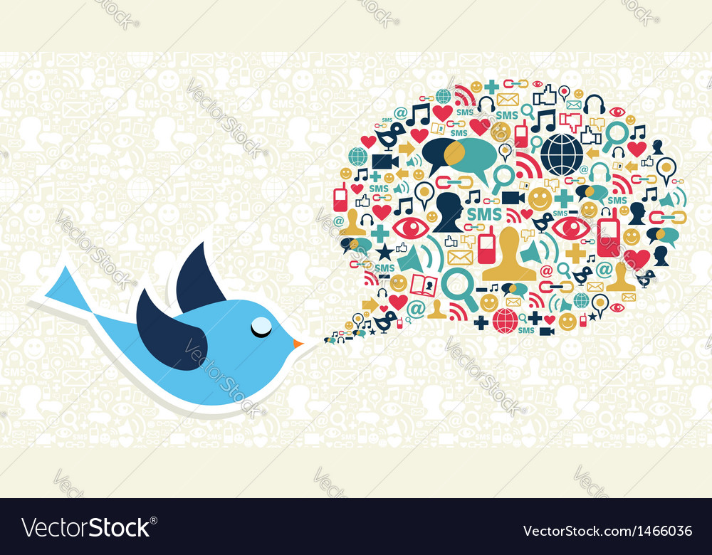 Social media marketing twitter bird concept vector | Price: 1 Credit (USD $1)