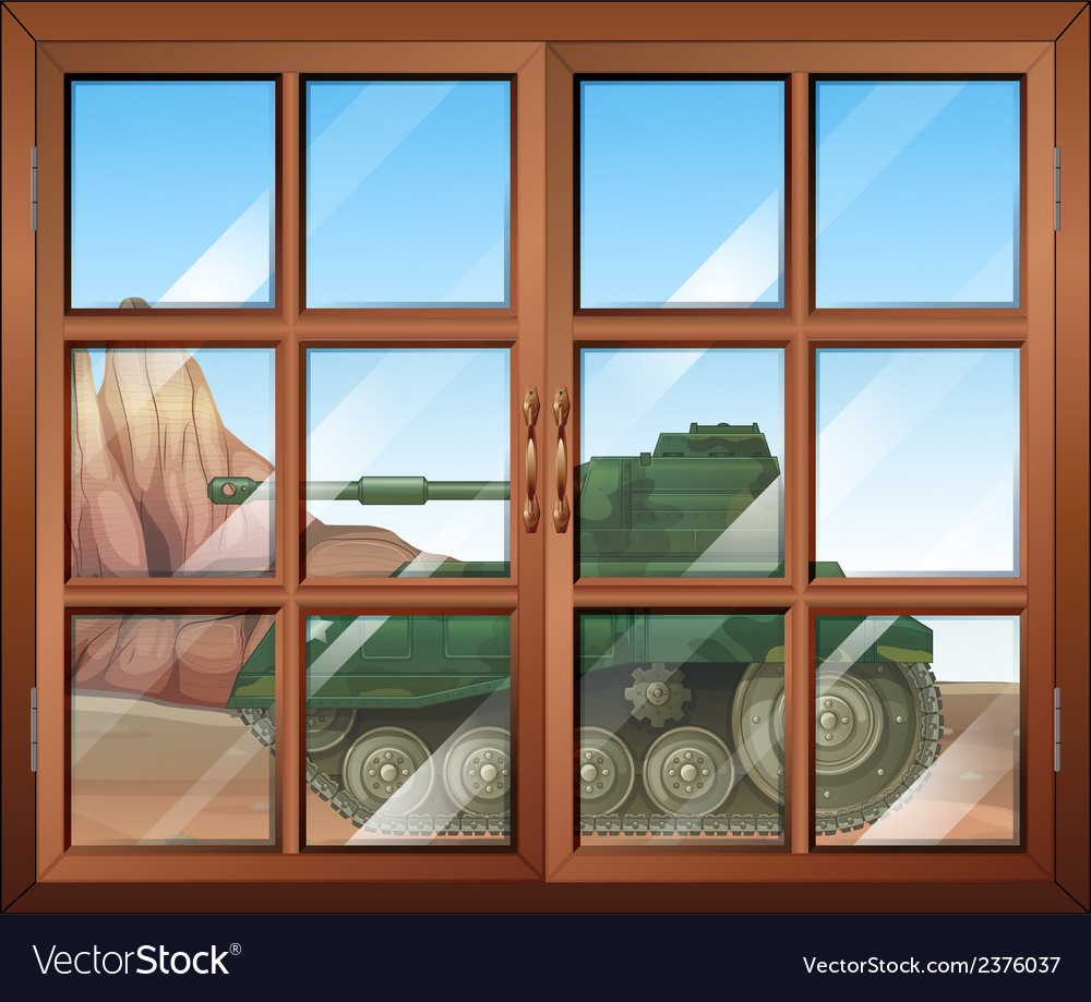 A closed window with a view of the military tanker vector | Price: 1 Credit (USD $1)