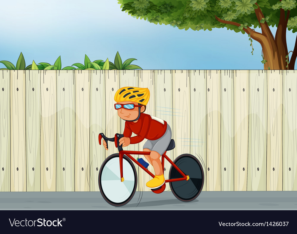 A young boy biking vector | Price: 1 Credit (USD $1)