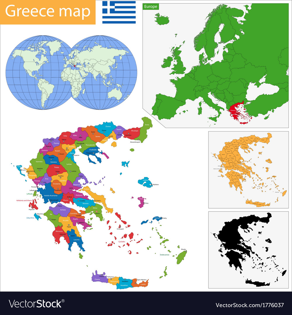 Greece map vector | Price: 1 Credit (USD $1)
