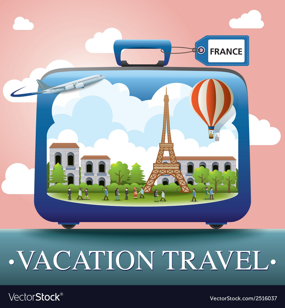 Luggage and travel vacation to france vector | Price: 1 Credit (USD $1)