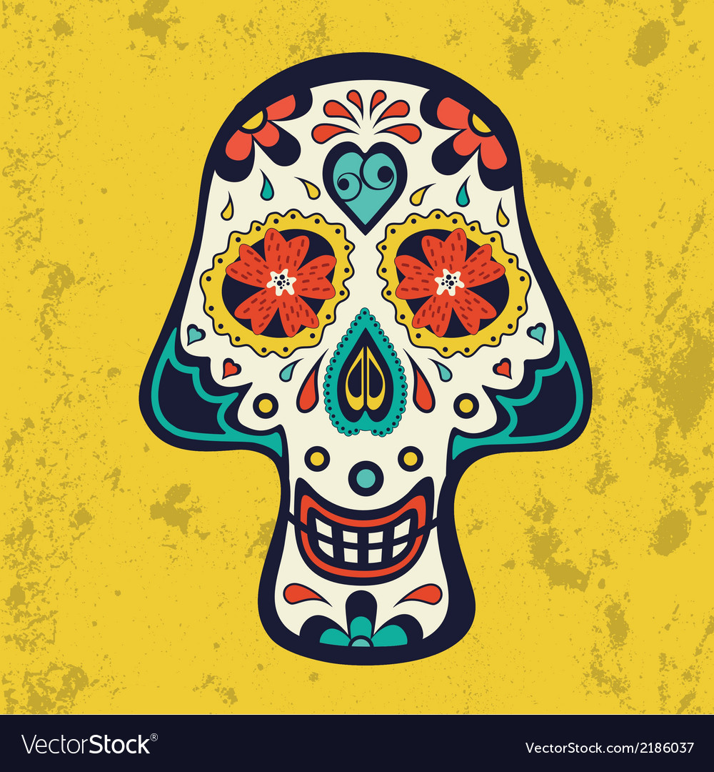 Sugar skull on grunge background vector | Price: 1 Credit (USD $1)