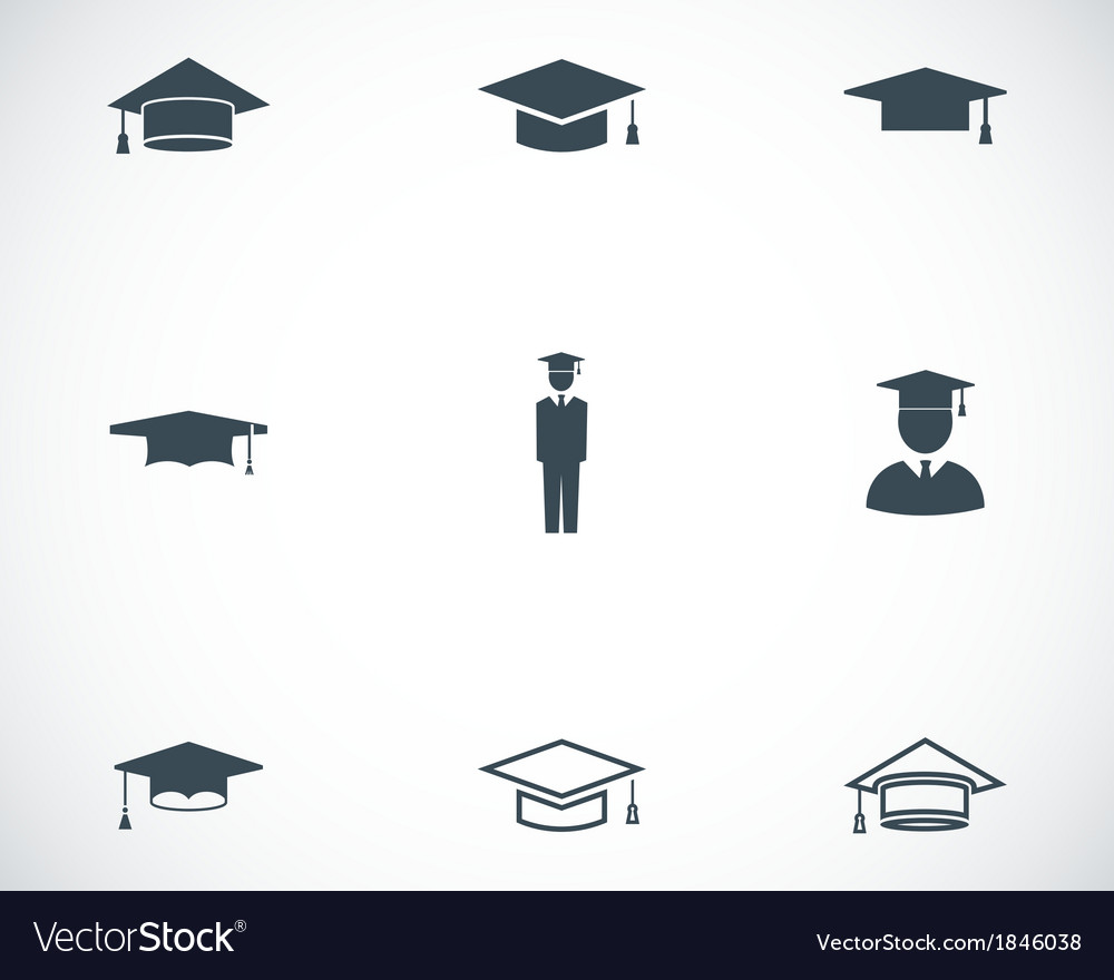 Black academic cap icons set vector | Price: 1 Credit (USD $1)