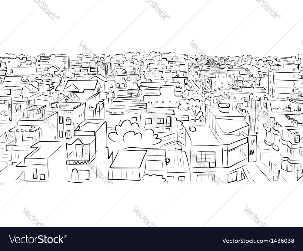 Cityscape sketch seamless pattern for your design vector | Price: 1 Credit (USD $1)