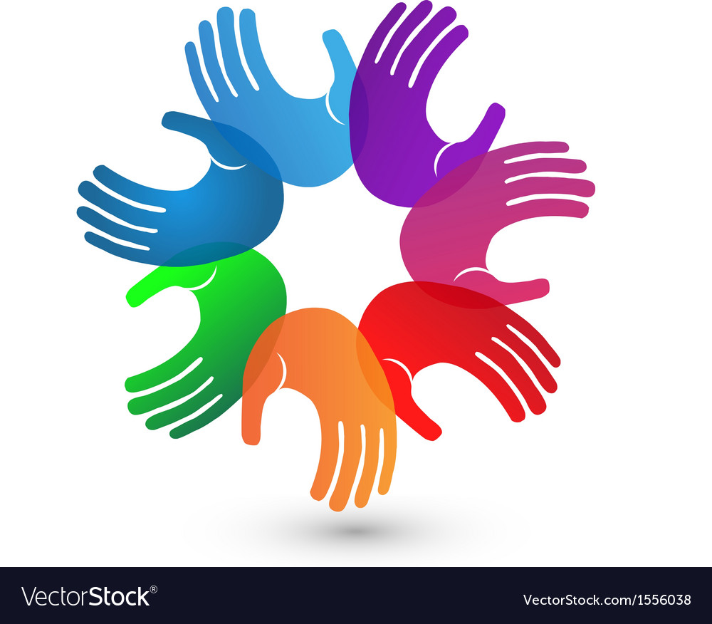 Colorful hands teamwork logo vector | Price: 1 Credit (USD $1)