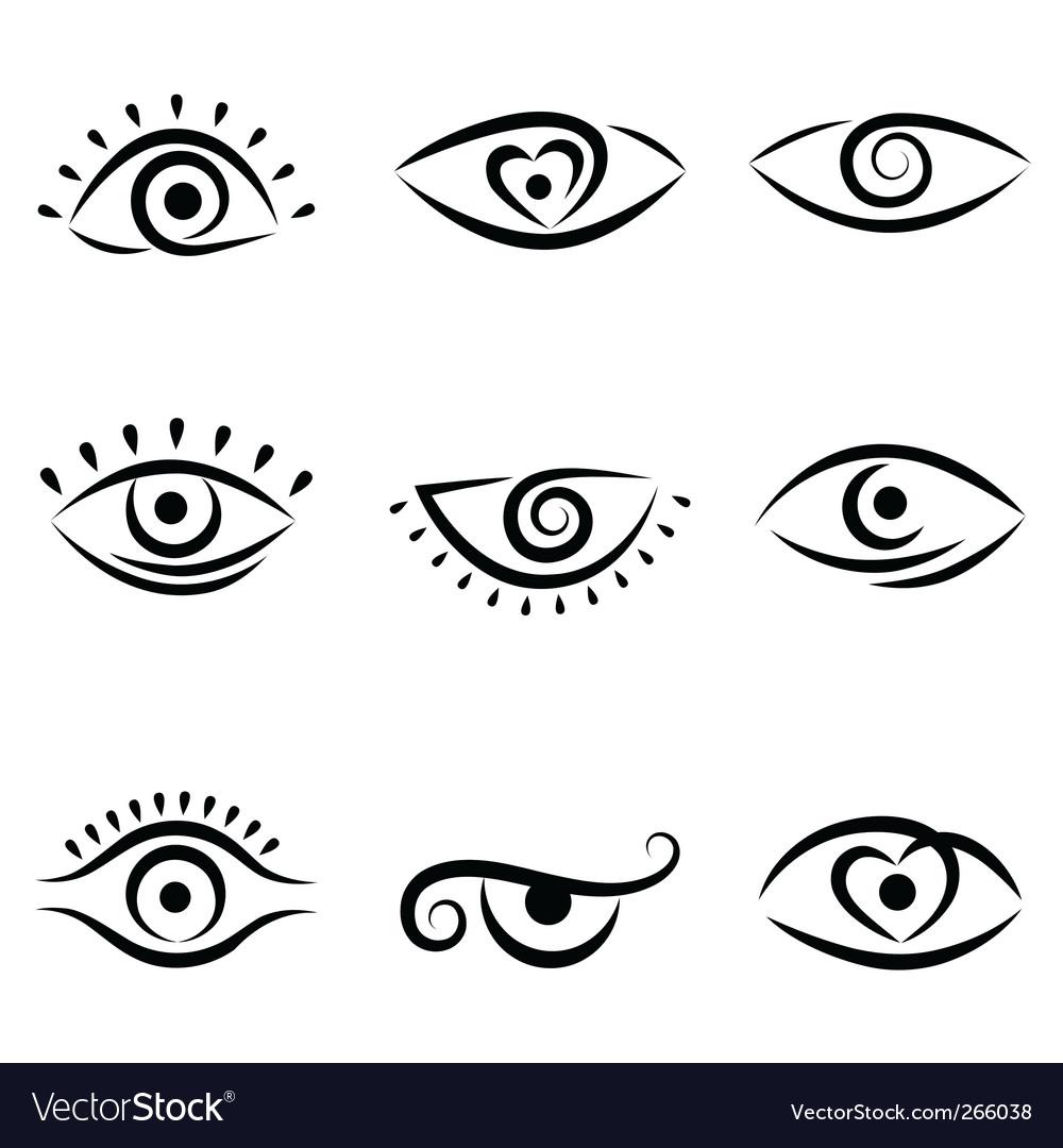 Eye symbol set vector | Price: 1 Credit (USD $1)