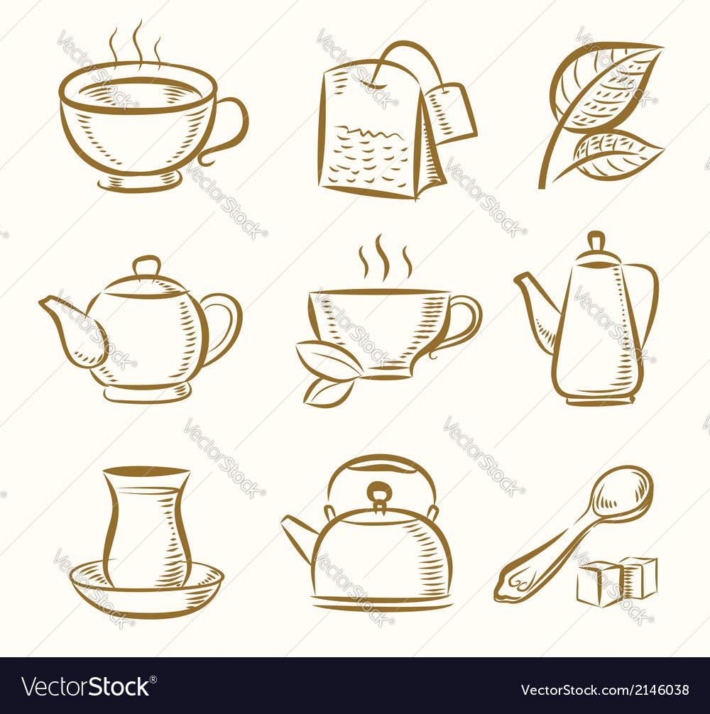 Green and black tea vector | Price: 1 Credit (USD $1)