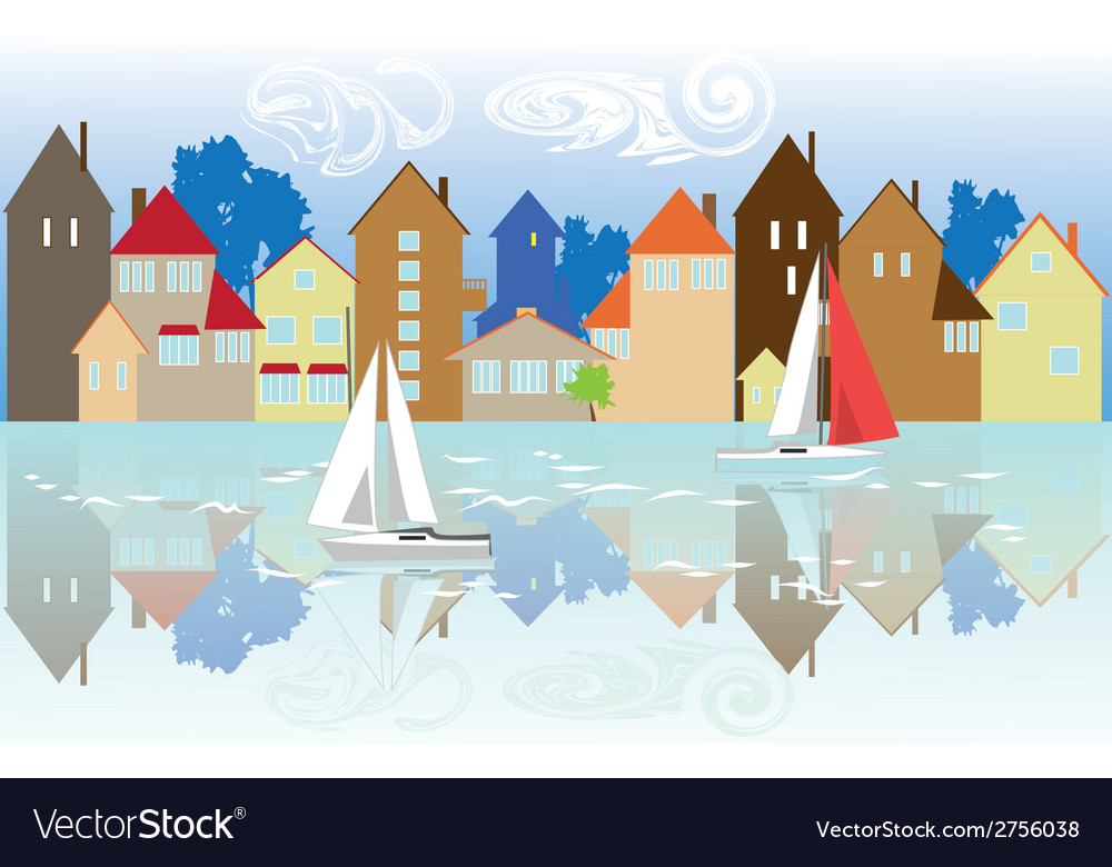 Houses on the waterfront vector | Price: 1 Credit (USD $1)