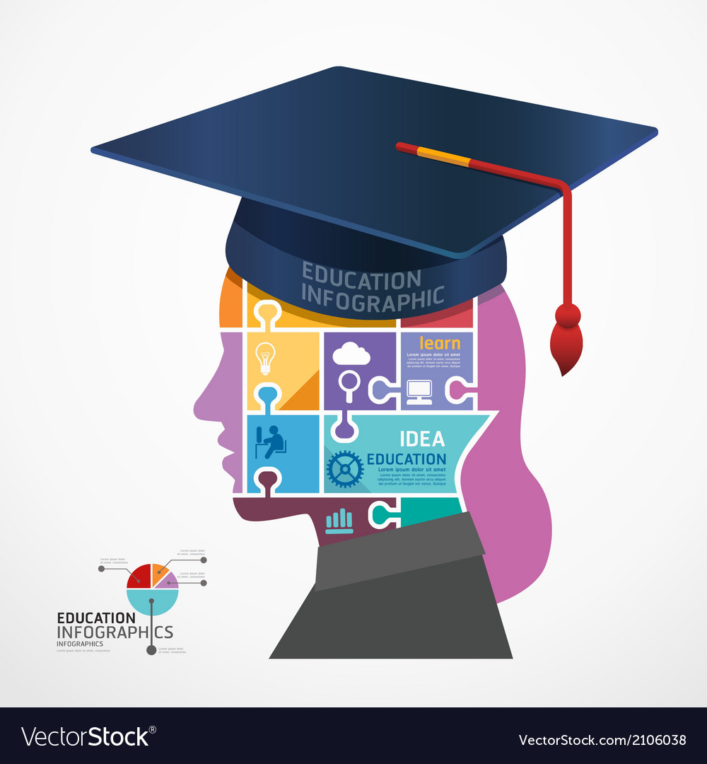 Infographic template graduation cap vector | Price: 1 Credit (USD $1)