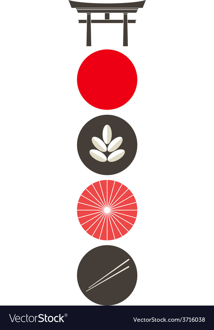 Japan icon set vector | Price: 1 Credit (USD $1)