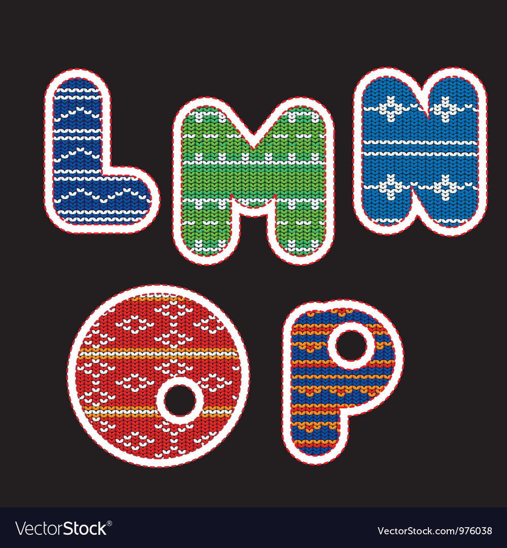 Knitted alphabet - lmnop vector   Price: 1 Credit (USD $1)