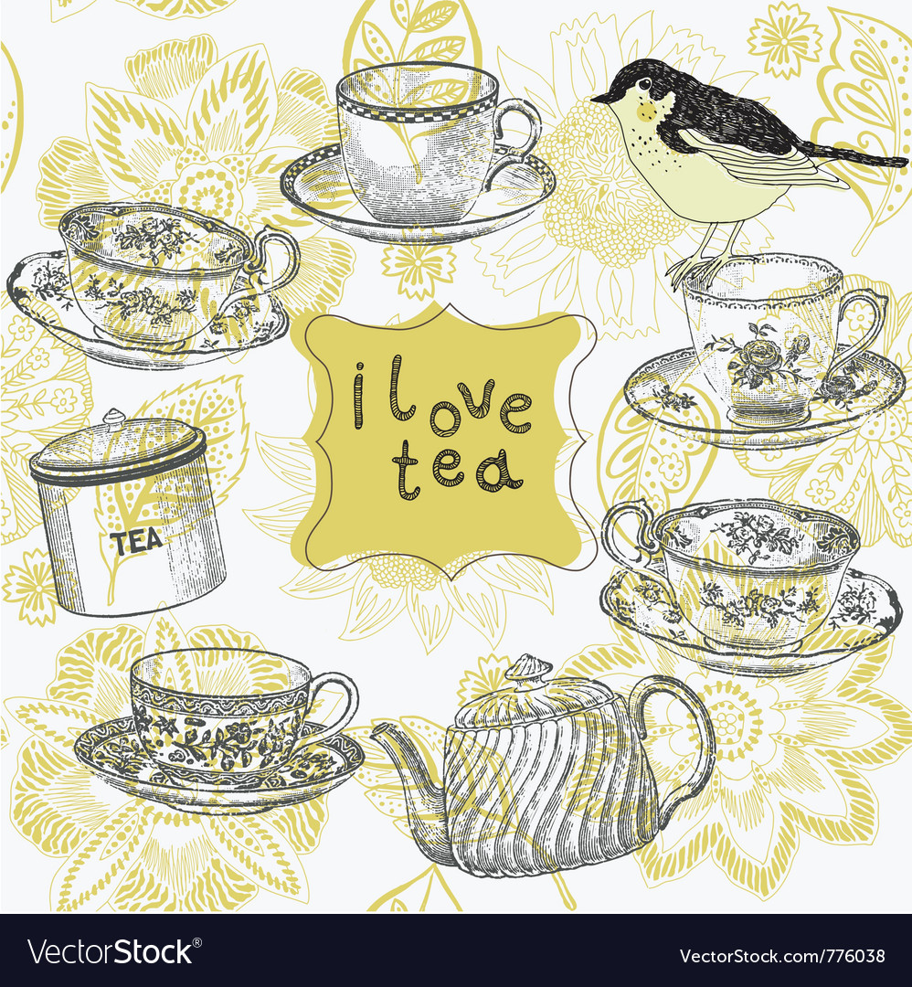 Love tea time vector | Price: 1 Credit (USD $1)