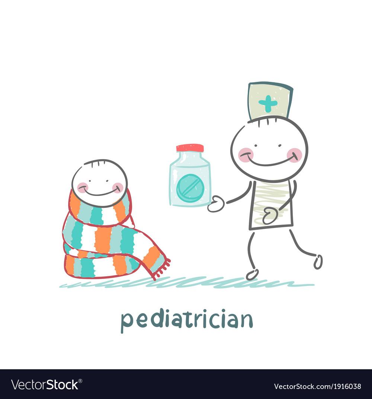 Pediatrician giving medicine to a child vector | Price: 1 Credit (USD $1)
