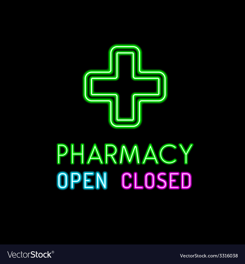 Pharmacy neon sign on black background vector | Price: 1 Credit (USD $1)