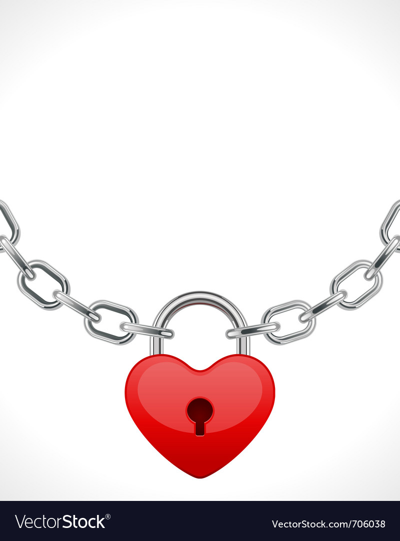 Red shiny heart lock on chain vector | Price: 1 Credit (USD $1)
