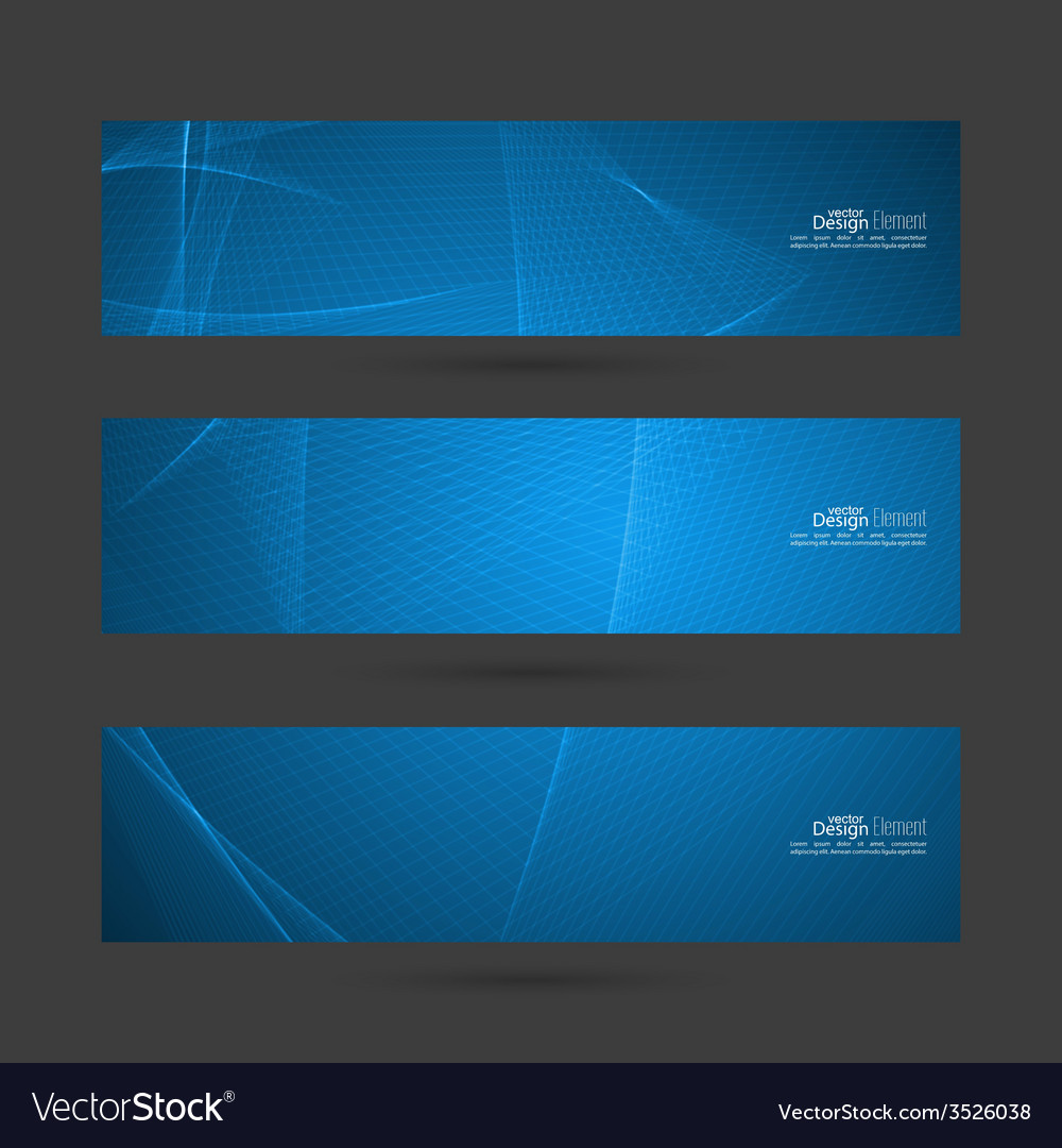 Set of blue banners with soft lines vector | Price: 1 Credit (USD $1)