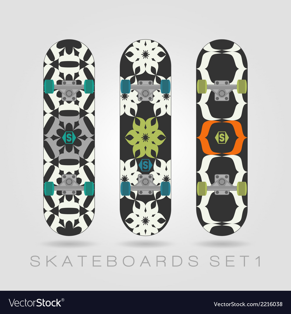 Skateboard set tracery floral vector | Price: 1 Credit (USD $1)