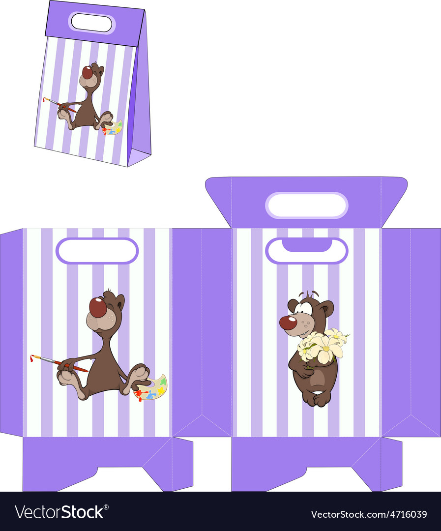 A brown bear handbags packages pattern vector | Price: 1 Credit (USD $1)