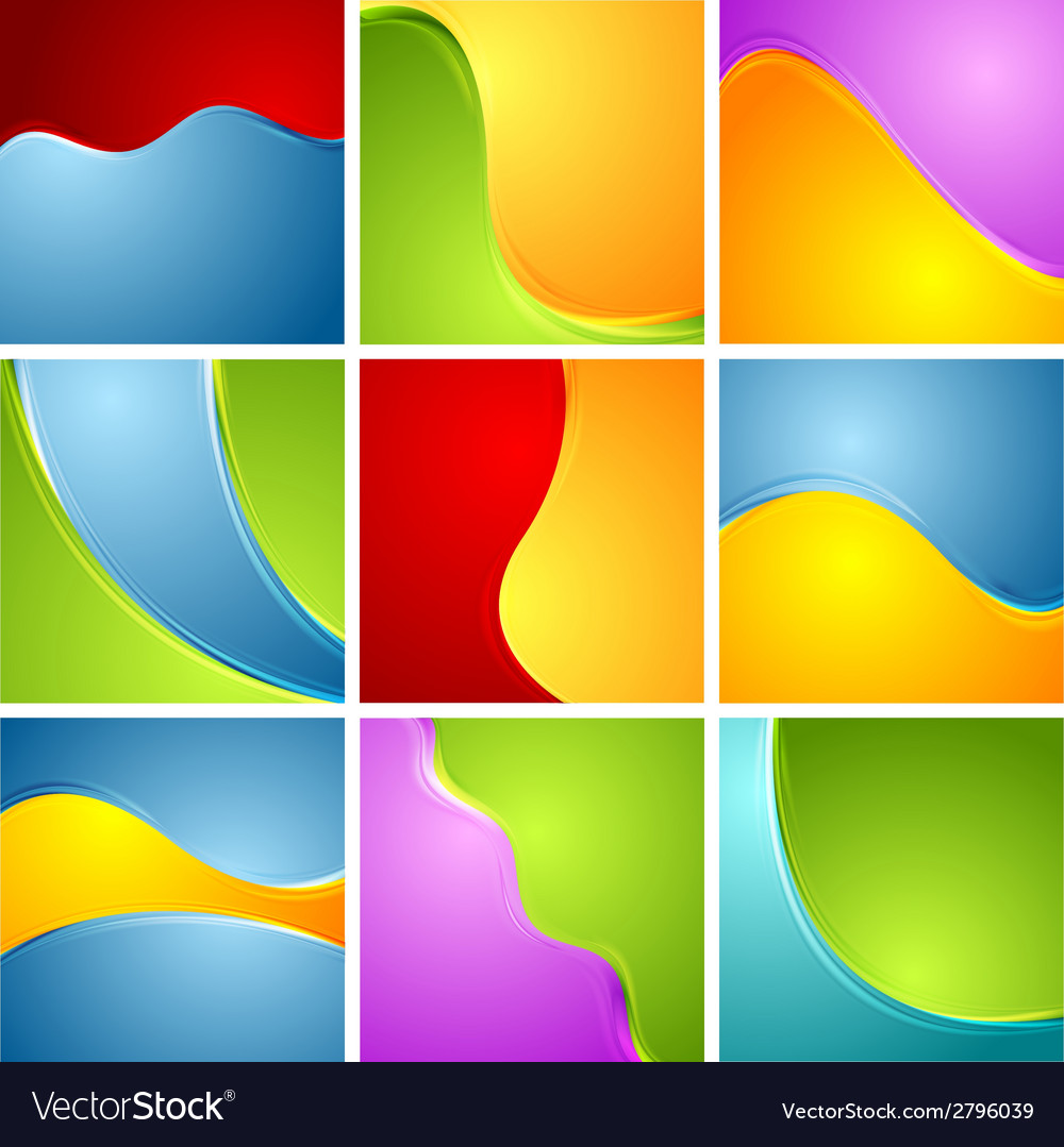 Abstract bright wavy backgrounds set vector | Price: 1 Credit (USD $1)