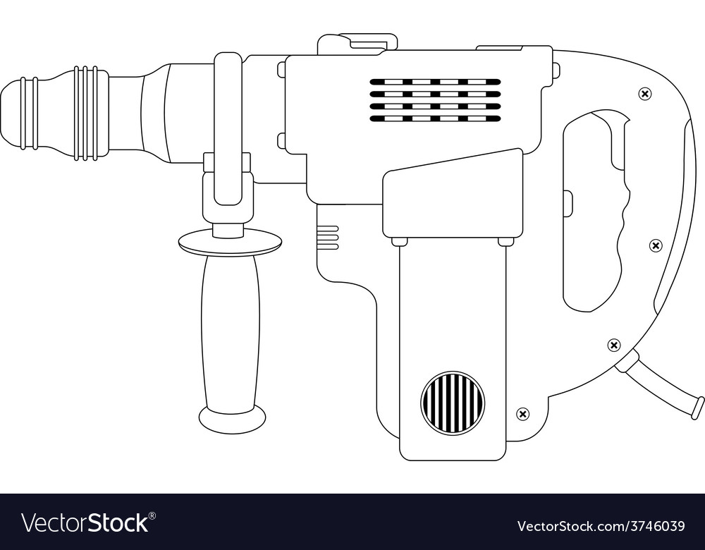 Big electric hammer drill contour vector | Price: 1 Credit (USD $1)