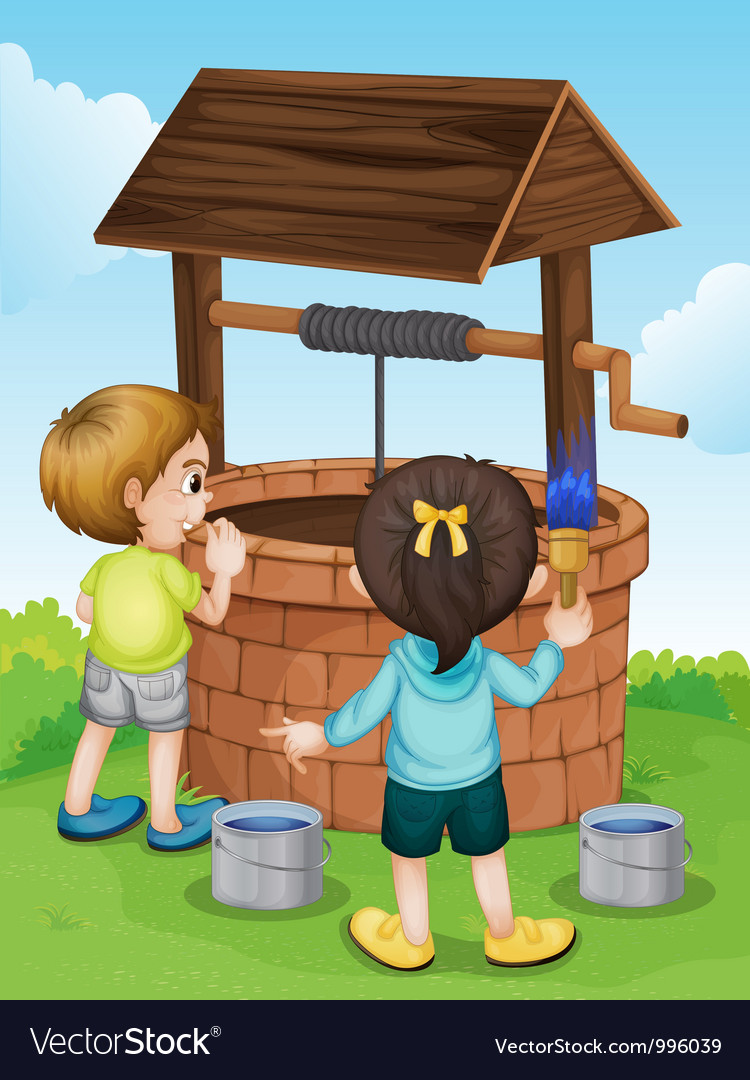 Cartoon kids water well vector | Price: 1 Credit (USD $1)