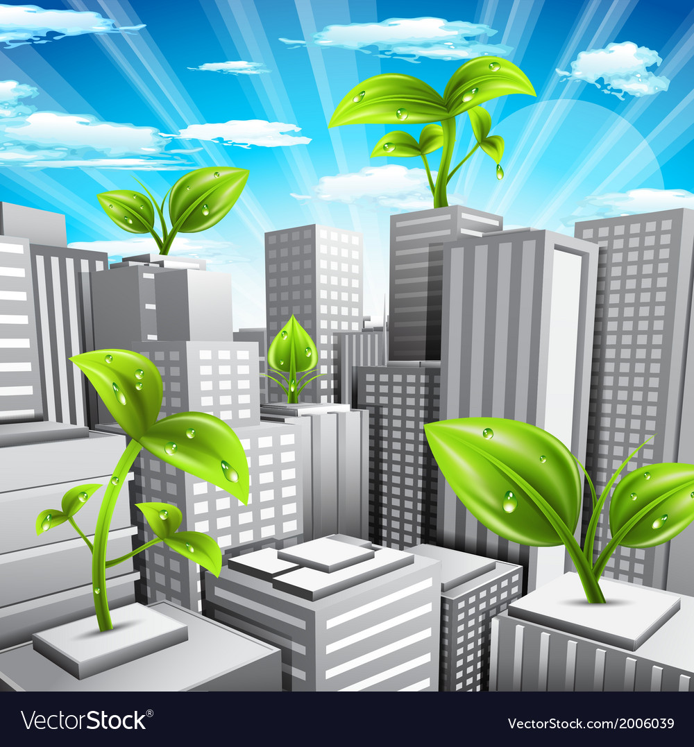 Eco city vector | Price: 1 Credit (USD $1)
