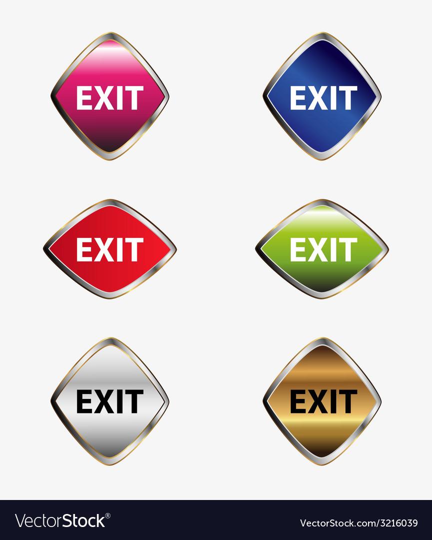 Exit icon sign set vector | Price: 1 Credit (USD $1)