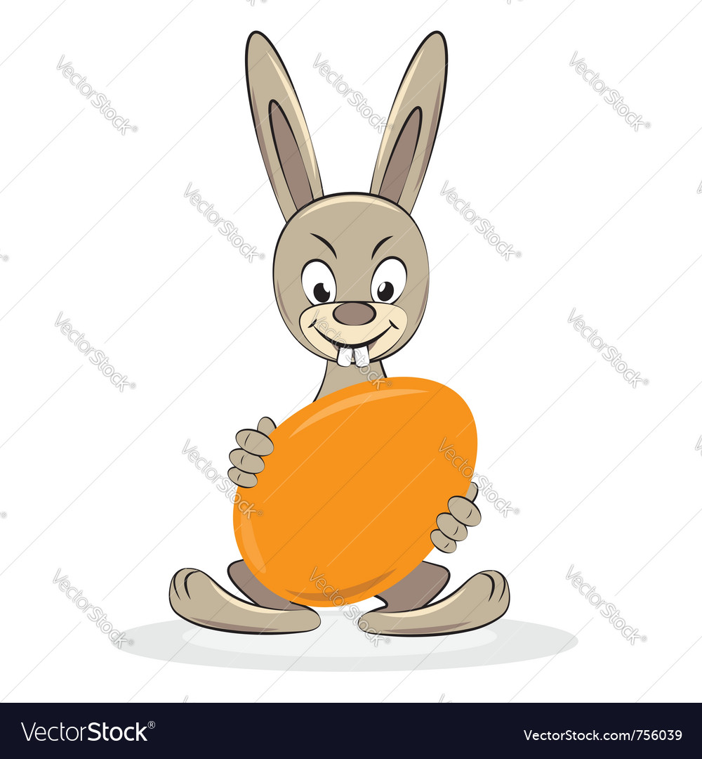 Funny easter rabbit with egg cartoon vector | Price: 1 Credit (USD $1)