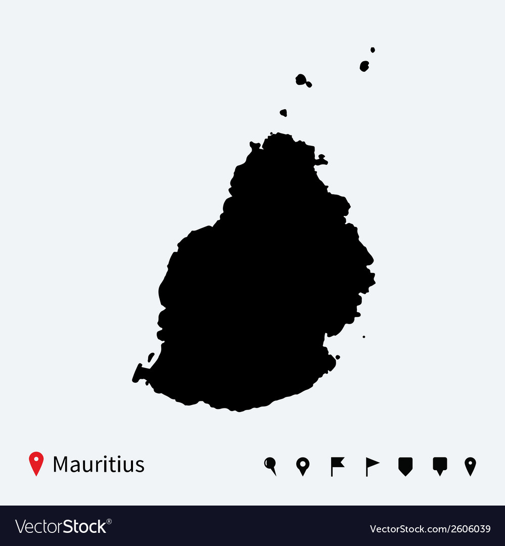 High detailed map of mauritius with navigation vector | Price: 1 Credit (USD $1)
